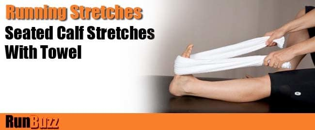 seated calf stretches with towel
