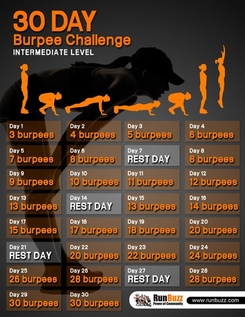 30 Day Burpee Challenge - Printable Schedule and Video Demo